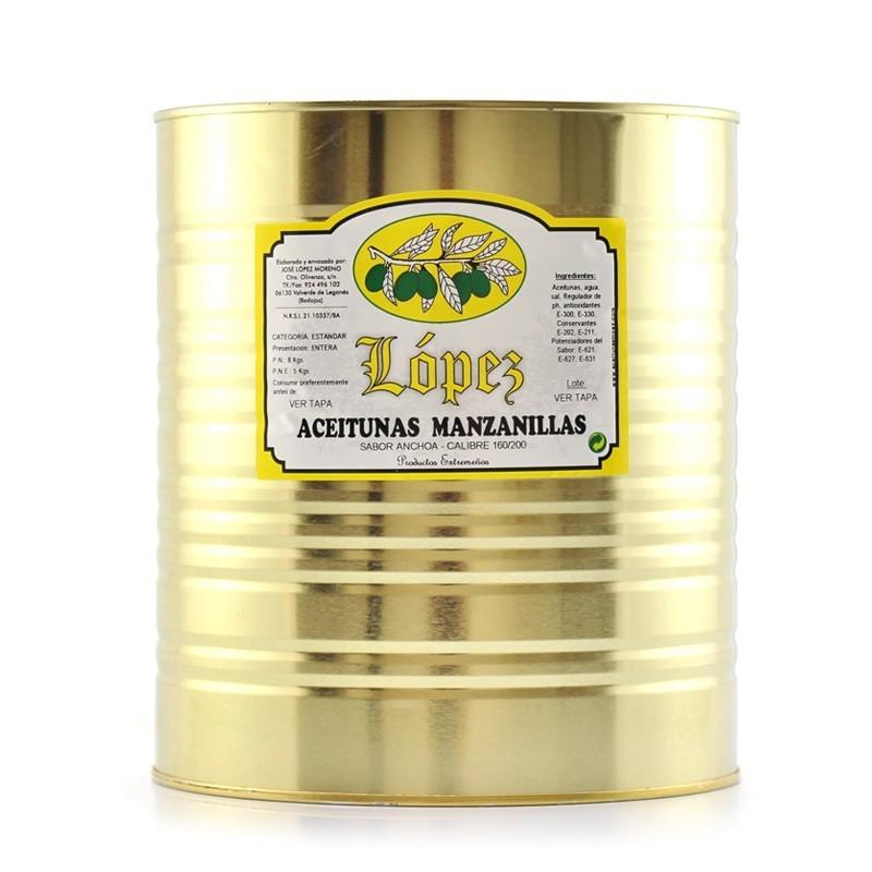 Aceitunas Manzanillas Sabor Anchoa - Lata 8 kg Peso Neto