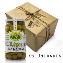 Pack 6 Unidades Aceitunas Manzanillas Sabor Anchoa - Envase PET 1.200 g Peso Neto